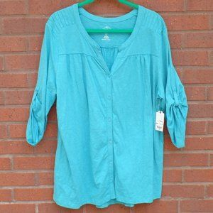 St Johns Bay Turquoise Blue Shirt Plus 2X NWT